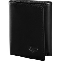 FOX TRIFOLD BLACK LEATHER WALLET