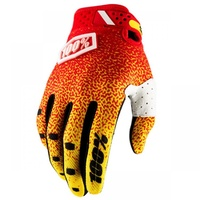 100% PERCENT 2018 RIDEFIT RED/YELLOW GLOVES