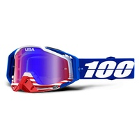 100% PERCENT RACECRAFT ANTHEM RED/BLUE TINTED GOGGLES