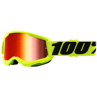100% PERCENT STRATA 2 YELLOW/RED MIRROR KIDS GOGGLES